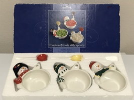 Hallmark Christmas Snowman Holiday Condiment Bowls with Spoons  - $20.99
