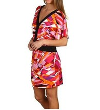 BCBG MAX AZRIA Begoniac Combo ABSTRACT Printed JERSEY V-Neck DRESS S $148 - $99.97
