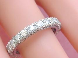 VINTAGE 1.70ctw BRILLIANT CUT DIAMOND PLATINUM ETERNITY BAND RING 1950 s... - $2,568.85