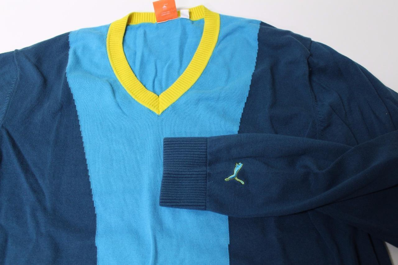 M4127 Mens PUMA 100% cotton, colorblock blue with yellow v-neck SWEATER, size L