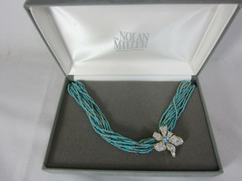 NOLAN MILLER Blooming Blue Turquoise Gold Seed Bead Necklace with Flower... - $64.34