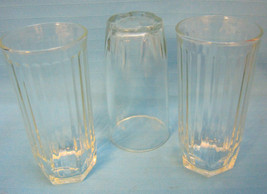 Crisa Crystal Clear Hexagon Glass Tumbler High Ball Ridged Sides Lot of 3 - $24.95