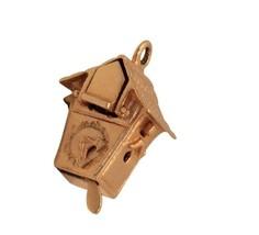 14K Gold 3D Cuckoo Clock Bird Pops Out Charm Pendant Vintage Estate #31637B - $228.69