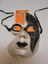 NEW HALLOWEEN 1/2 MASK GOLD & BLACK GLITTER MASQUERADE MARDI GRA BLING F... - £4.88 GBP