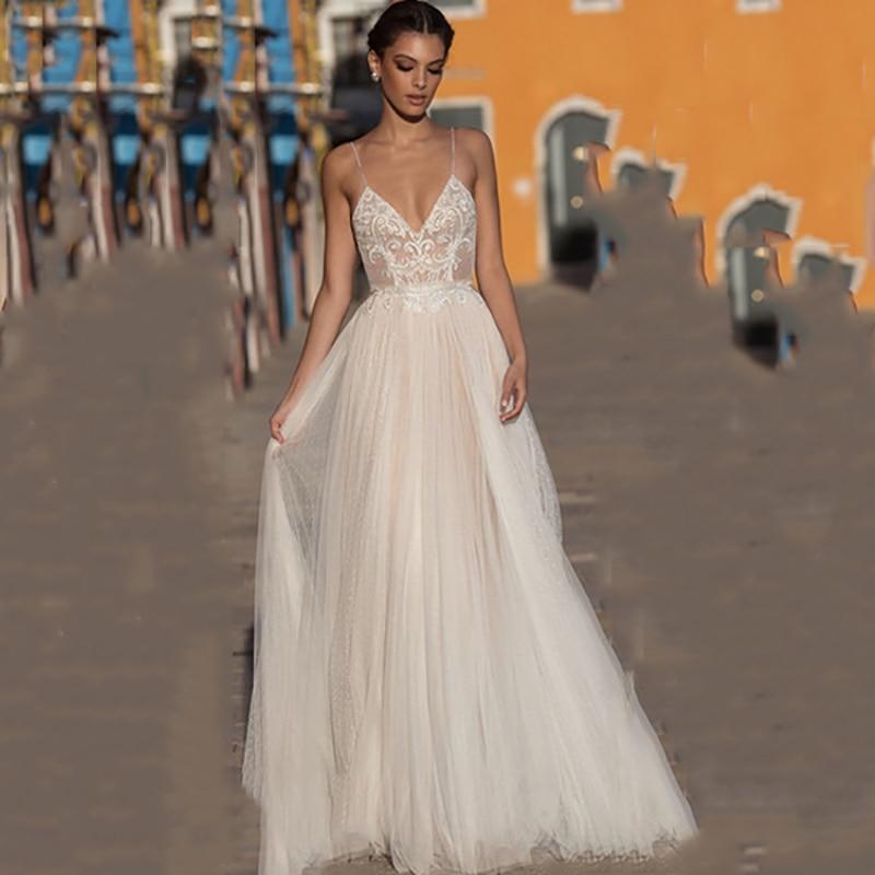 Beach wedding dress boho vestido de noiva bohemian lace bridal dress backless spaghetti straps v