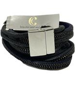 Charming Charlie dark blue 4 strand Leather necklace bracelet magnetic c... - $13.10