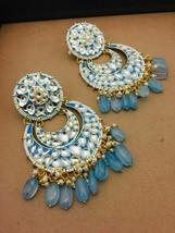kundan Beautiful unique antique rajwadi earrings bridal Torqoisegold pla... - $29.69