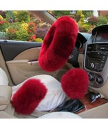Red 3Pcs Car Steering Wheel Cover Furry Fluffy Universal Fur Wool Thick - $29.69