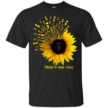 Semicolon Sunflower Choose To Keep Going T Shirt Men Black S-6XL Made in... - £13.01 GBP+