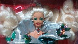 Christmas Barbie Happy Holidays 1995 Barbie Doll NEW Green & Silver Dress - $15.00