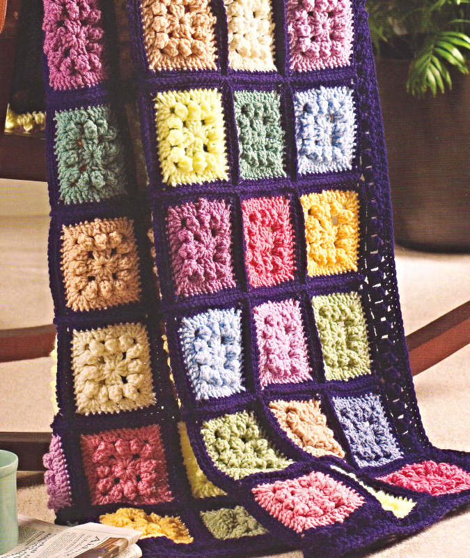 Crochet Patterns For Scrap Yarn Afghan : DIMENSIONAL SQUARES - Crochet Pattern Only - Afghan ...