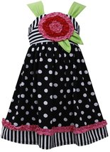 Little Girls 2T-6X Black White Black White Polka Dots Stripes Knit Dress