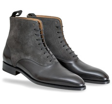 Handmade men two tone ankle boot, Mens black leather and gray suede boots - $179.99