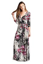 Tua USA 3/4 Sleeve Exotic Print Wrap Knit Maxi Dress (Animal Floral, S ) - $68.00