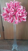 Pink Stargazer Rubrum Lily Eiffel Tower Vase Centerpiece Wedding Decoration - $39.00