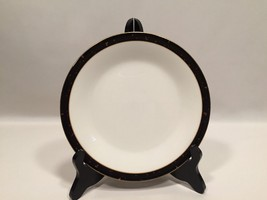 "Mikasa Gold Nuggets Salad Plate Black Platinum Bone China Japan 7 5/8"" Set of 2 - $34.99"