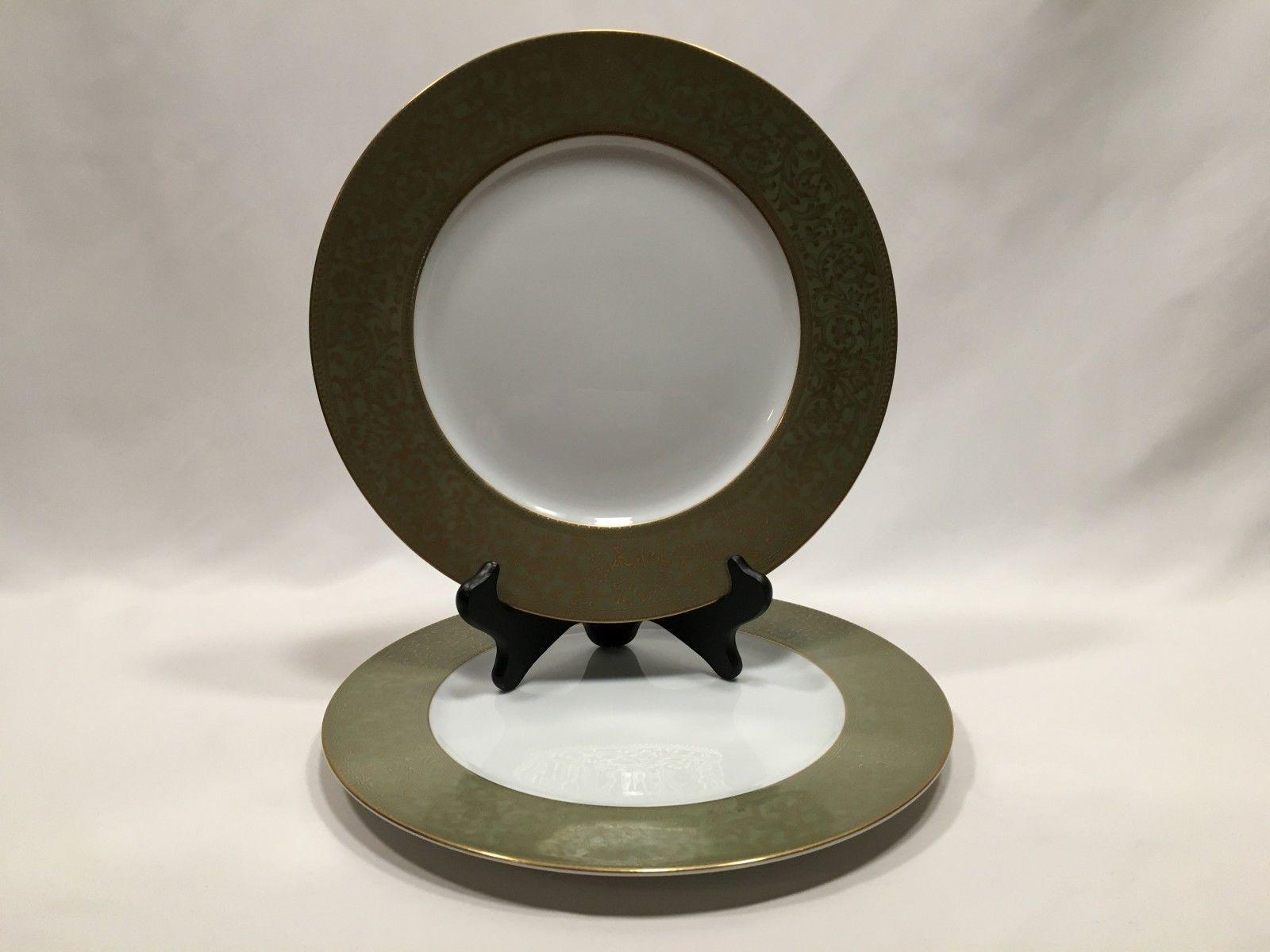 Sango Versailles Dinner Plates White Green Gold Filigree Trim 3632 Japan 10 3... - $24.99