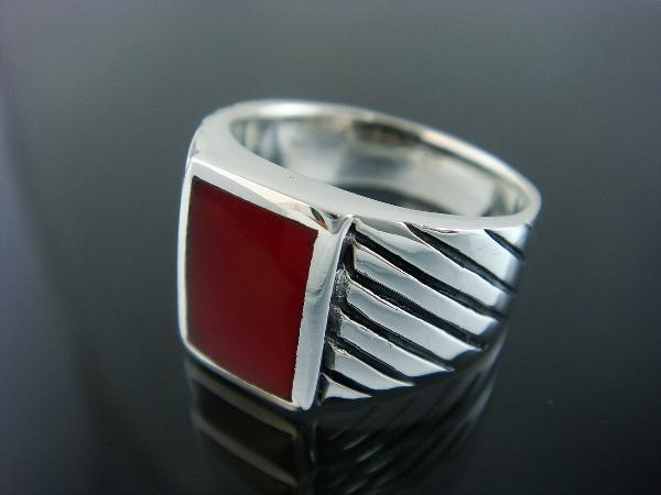 925 Sterling Silver Mens Rectangle Engraved Carnelian Ring