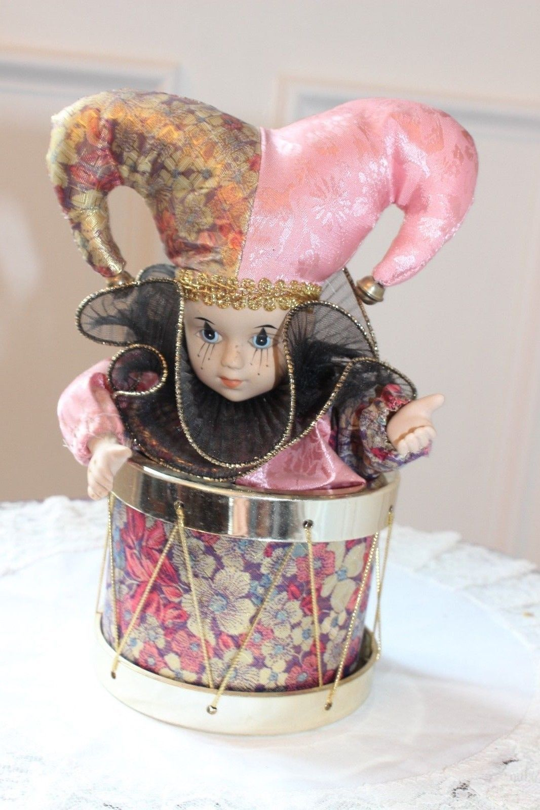 Music Box Drum with Porcelain Jester Doll Head and Hands