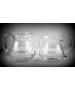 Heavy clear glass open sugar bowl creamer set s... - $20.00