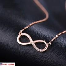 Rose Gold Infinity Charm Pendant Crystal Chain Chunky Statement Choker N... - $9.99