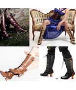 Vintage Hades Burgundy Brown Beige or Black Buckle Lace Up Victorian Hee... - $117.00