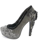 Gray Amina Hades Stiletto Steampunk Goth Grey Crystal Heel Platform Punk... - $135.00