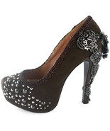 Brown Amina Hades Stiletto Steampunk Goth stud Crystal Heel Platform Pun... - $135.00