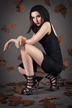 Black Crimson Hades Skeletal strappy Gothic Platform Punk Stiletto Sexy Heels - $166.50