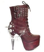 Burgundy Artemis Hades Metal Stiletto Goth Heel Platform Fetish Lace Up ... - $186.27