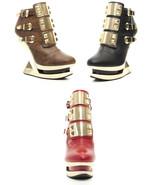 Red Brown or Black Hades Gleam Gold Platform Wedge Glam Rock Bootie Punk... - $150.00