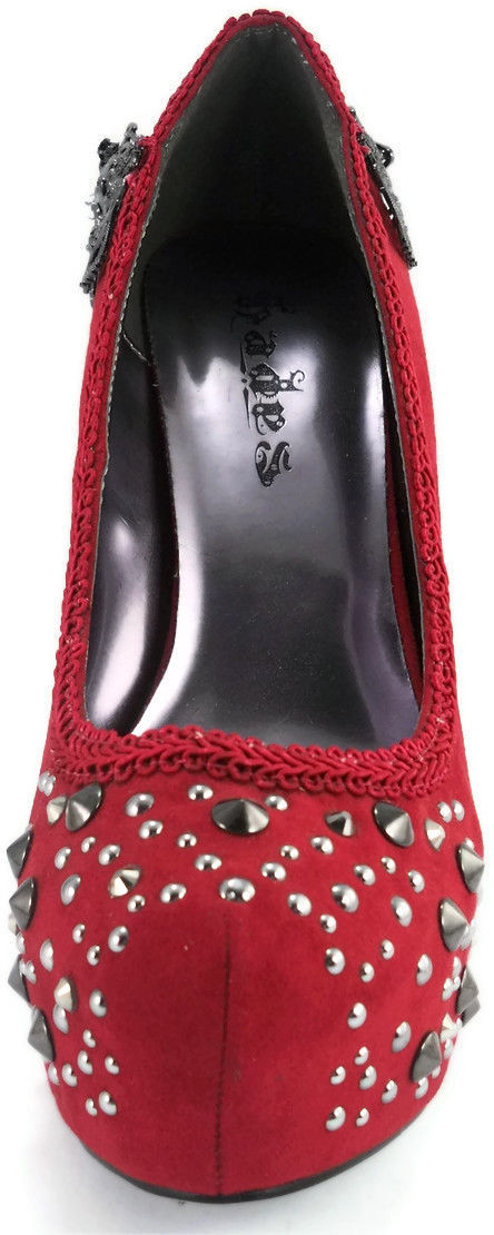 Red Amina Hades Stiletto Steampunk Goth stud Crystal Heel Platform Punk Pumps