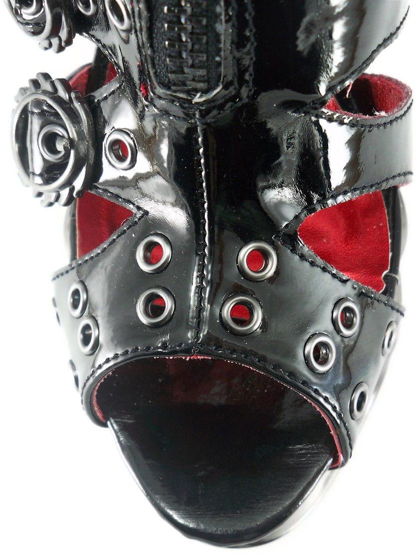 Black Crimson Hades Skeletal strappy Gothic Platform Punk Stiletto Sexy Heels