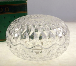 Vintage Avon French crystal round trinket box lidded bowl gift to reps - $18.00