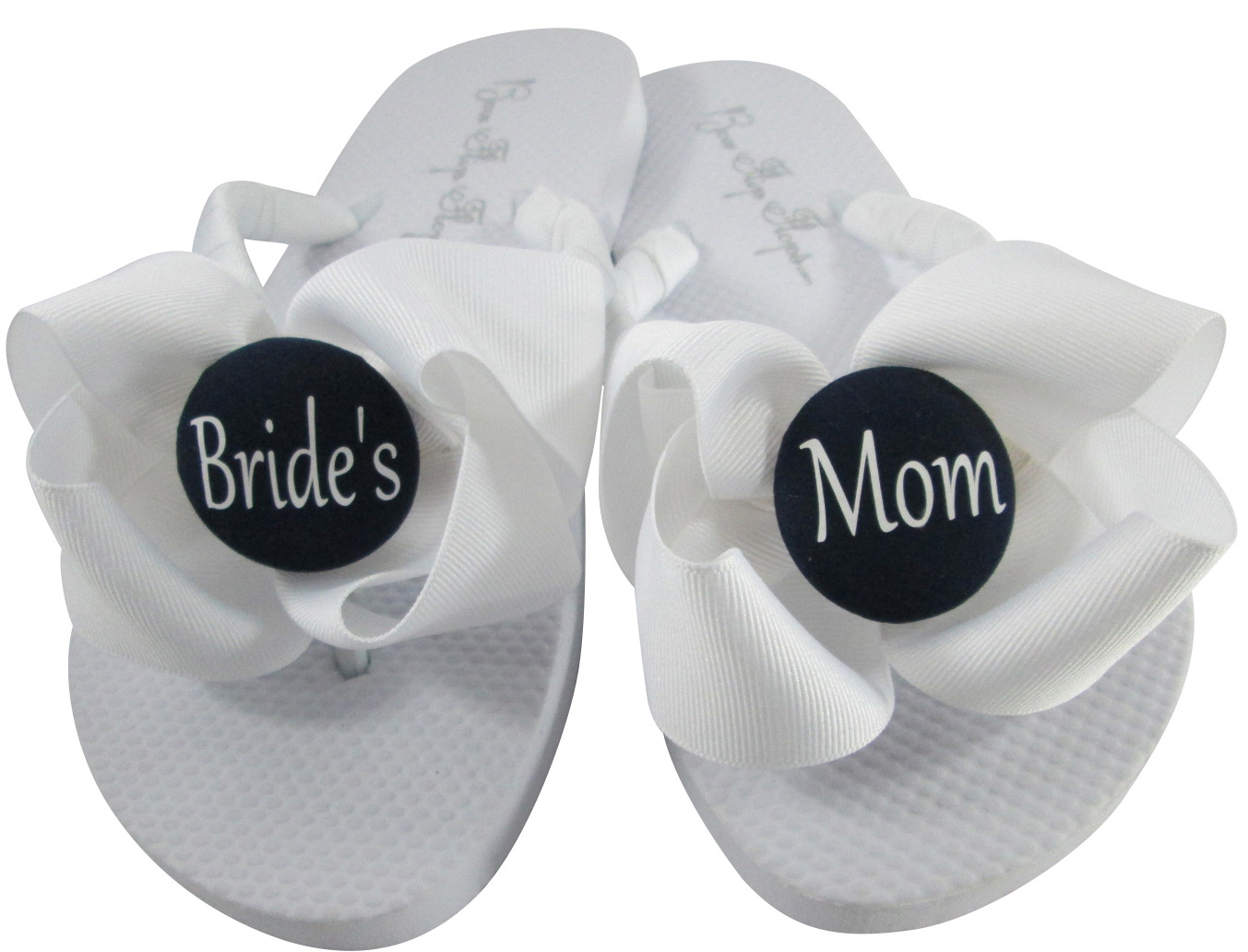 0053334f9 White Groom s Mom Flip Flops with Milennium Silver Bows   Gray Buttons