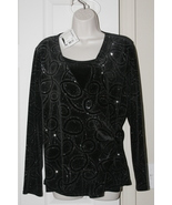 Notions Ladies Beaded Evening Top 2-Fer Twinset Large Black/Silver Design - $29.61