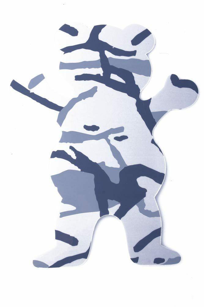 "Grizzly Griptape 5"" Gray Tree Branch Camo Bear Stamp Skateboard Sticker Decal"