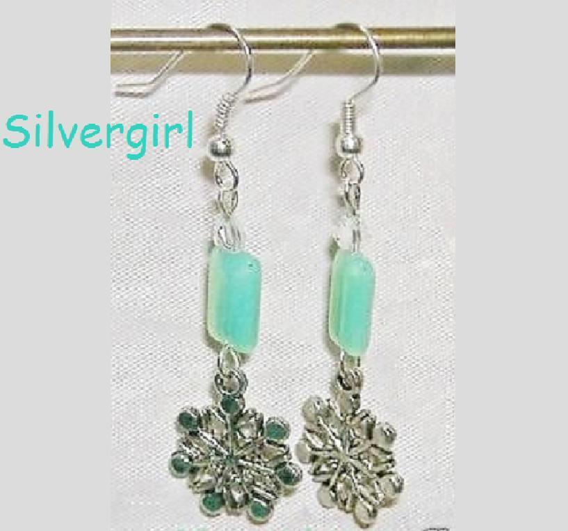 Mint Green Glass Chicklet Snowflake Dangle Earrings