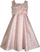 Big Girls Tween 7-16 Pink Sequin Embroidered Satin Fit and Flare Social Dress
