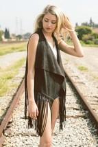 Women's Black Boho Solid Microsuede Tassel Vest - $30.00