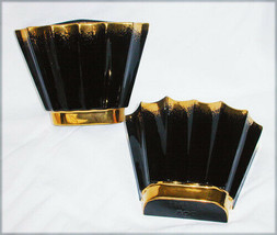 Centaur black gold wall pockets probably California pottery - $9.85
