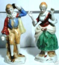 Occupied Japan Victorian Man and Woman Ceramic Figures - $79.99