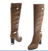 pb071 Graining block heeled boots w gold buckles, size 34-39, khaki - $58.80