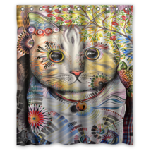Cat Art #02 Shower Curtain Waterproof Made From Polyester - $29.07+