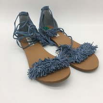 Womens Sandals Steve Madden RIZZA  Light Blue suede open toe Fringe Toe,Size8.0 - $14.26