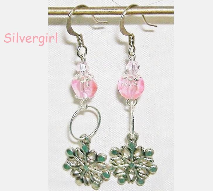 Light Pink Glass Crystal Snowflake Dangle Earrings