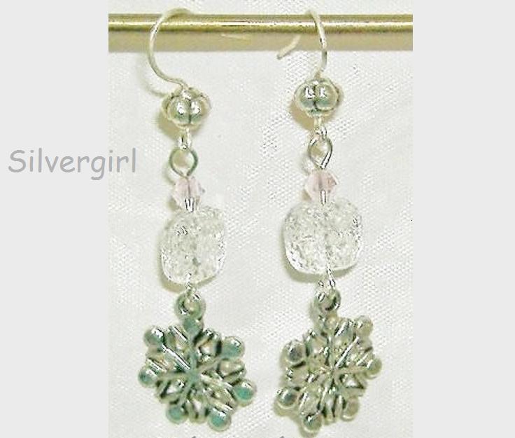 Clear Ice Glass Crystal SP Snowflake Dangle Earrings