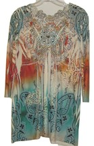ONE WORLD SUPER CUTE TUNIC STYLE TOP SUBLIMATION AND STUD TRIM SIZE MEDIUM - $24.99