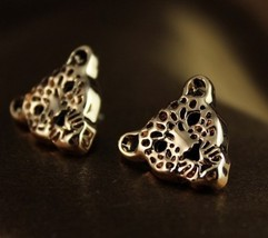 Exaggerated Style Leopard Head Cut Off Studs - £8.44 GBP