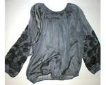 New Womens S Josie Natori Silk Embroidered Sheer Blouse Top Black Peasant Top - $326.70